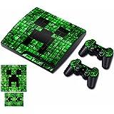 cubierta de calcomana de vinilo adhesivo modelo piel verde para playstation ps3