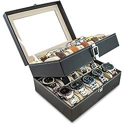 VENKON - Uhrenbox für 20 Uhren mit Schaufenster aus Glas für Aufbewahrung & Präsentation - Kunstleder Schwarz - 25,5 x 20,5 x 14 cm