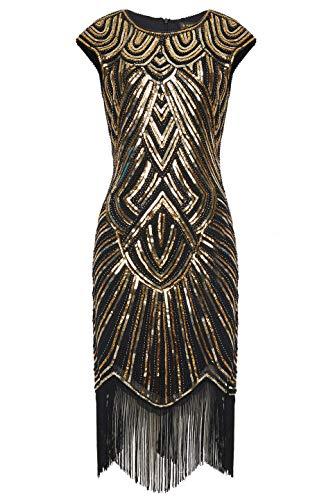 BABEYOND Damen Kleid voller Pailletten 20er Stil Runder Ausschnitt Inspiriert von Great Gatsby Kostüm Kleid (Gold und Schwarz, XS (Fits 70-74 cm Waist)) (Fransen-kleid-gold)