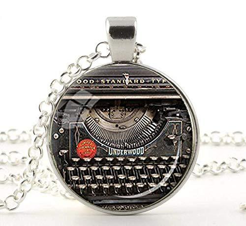 ld einer Vintage-Schreibmaschine, ein tolles Geschenk für Schriftsteller, Schmuck mit einer Schreibmaschine, Halskette für Autoren, schwarz, grau, rot und grau ()