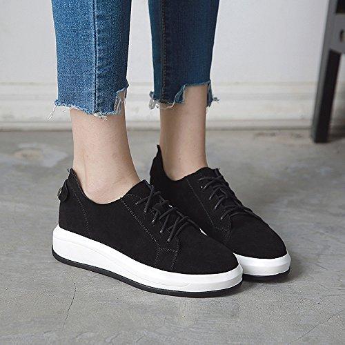 FUFU Scarpe da ginnastica delle scarpe da donna delle scarpe da passeggio di autunno congelato Scarpe da passeggio casual da donna in pizzo a forma di tacco 4cm ( Colore : Nero , dimensioni : EU36/UK3 Nero