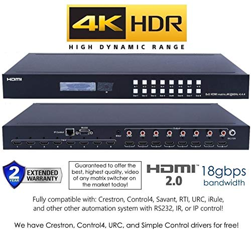 8x8 HDMI 4K HDR Matrix Switcher 18GBPS Ultra YUV 4:4:4 HDCP2 2 60Hz HDMI  2 0B Dolby Atmos HDTV Routing SELECTOR SPDIF Audio CONTROL4 Savant Home