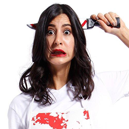 Coltello pugnale insanguinato con cerchietto copricapo attraverso la testa sangue horror halloween