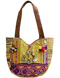 Multi Color Banjara Embroidery Bag Tribal Vintage Patchwork Bag Leather Tote Shoulder Bag By Handicraft-Palace