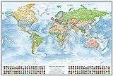 Bacheca con telaio in alluminio: Mappa politica del mondo, 120x80 cm, con bandiere, in inglese, edizione 2016