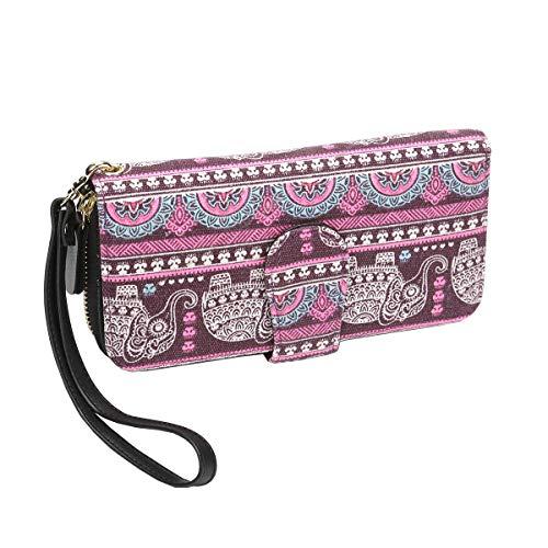 Geldbörse Damen groß viele Fächer Canvas Geldbeutel Elefant Portemonnaie mit Reißverschlüsse (Lila-2)