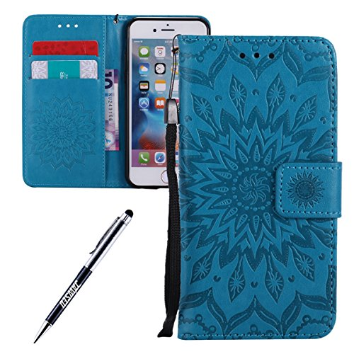 JAWSEU Coque pour iPhone 6/6S 4.7,iPhone 6S Portefeuille Coque en Cuir,iPhone 6 Cover Flip Wallet Case Ultra Slim,2017 Neuf Femme Homme Luxury Retro Gold/Oro Butterfly Papillon Motif Leather Pu Folio  Bleu*
