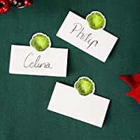 Talking Tables Botanical Christmas Sprout Place Cards for Christmas Dinners and Party, Green and White (12 Pack)