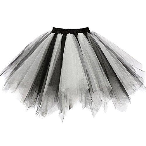 GirstunmBrand Damen 50er Vintage Tüllrock Petticoat Mehrfarbig Bubble Tanzkleid Rock Schwarz weiß-XXL