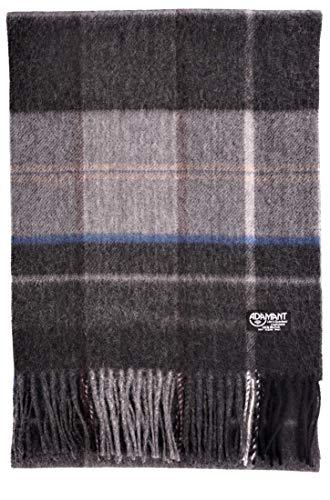 ADAMANT 100% Kaschmir Herren Schal in Verschiedenen Farben l 180cm x 28cm, Dunkelgrau Streifen, 180cm lang x 30 cm breit