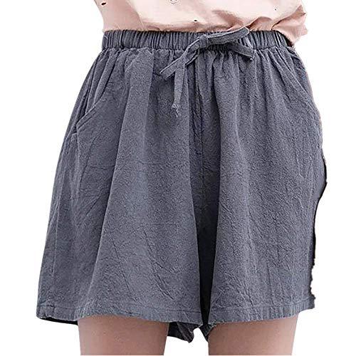 ose Damen Bettwäsche Baumwolle Solid Einfarbig Falten Gefaltet Plissee Mini Dress Freizeithose Stoffhose Riemchen Loose Bequem High Waist Pyjama Trousers (XL,Grau) ()