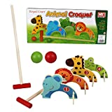 KIDS WOODEN ANIMAL CROQUET GOLF TOY SET GARDEN OUTDOOR CHILDRENS PLAY FUN GAME