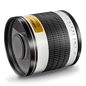 Walimex Pro 500mm 1:6,3 DSLR Spiegel-Teleobjektiv (Filtergewinde 34mm) für Canon FD Objektivbajonett weiß
