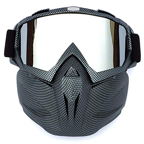 Sonnenbrillen Mode Motorradbrillen mit Abnehmbarer Maske Airsoft Schutzbrillen Maske Winddicht wasserdicht Motorrad Ridding Glasses (Color : 10, Size : One Size)
