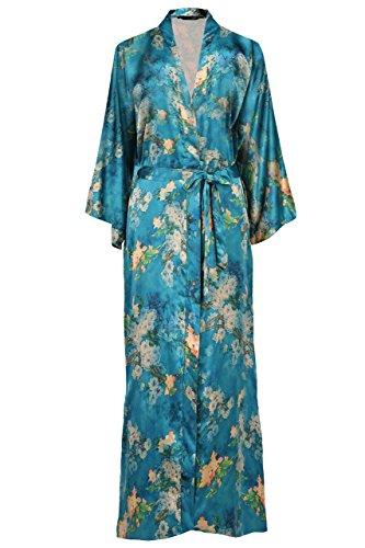 ArtiDeco Damen Morgenmantel Maxi Lang Seide Satin Kimono Kleid Blüten Muster Kimono Bademantel Damen Lange Robe Blumen Schlafmantel Girl Pajama Party 135 cm Lang (Malachitgrün) -