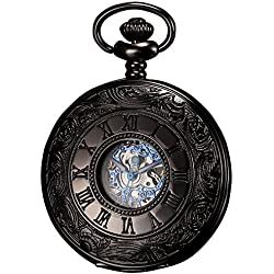Ks Antique Black Hollow Case Retro Roman Numerals Dial Mechanical Pocket Watch KSP032