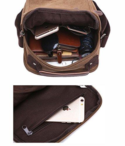 Super Modern Leinwand Messenger Bag Umhängetasche Umhängetasche Umhängetasche aus Segeltuch Tasche Arbeiten Tasche für Damen und Herren 8858 Khaki