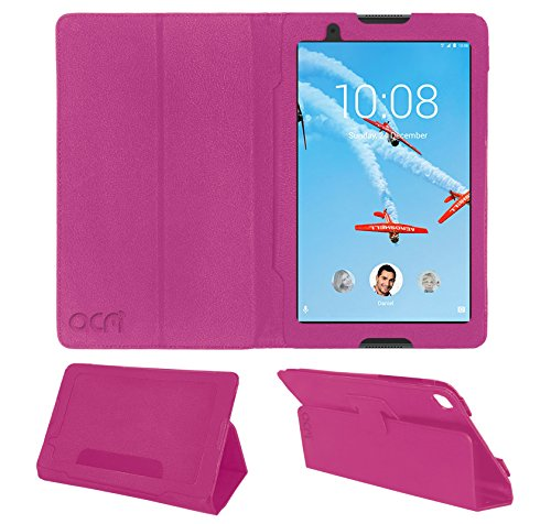 Acm Executive Leather Flip Flap Case for Lenovo Tab 4 8 Tablet Front & Back Cover Pink
