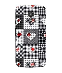 PrintVisa Designer Back Case Cover for Motorola Moto G2 :: Motorola Moto G (2nd Gen) (Check Shirt Design With Heart Label)