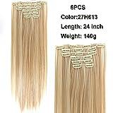 SHANGKE Haarverlängerung, 61 cm (24 Zoll), , P27/613, Stück: 6