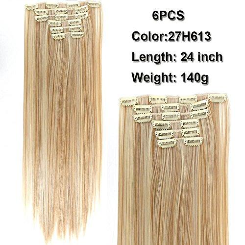 Shangke estensioni per capelli lisci lunghezza 61cm, set di 6pz con 16clip, in fibre ad alta temperatura