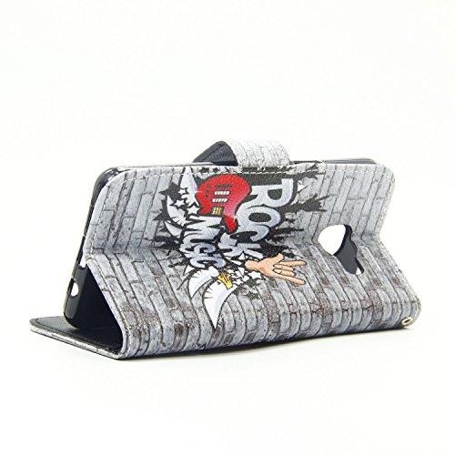 Cozy Hut Schutzhülle / Cover / Hülle / Handyhülle / Etui für Samsung Galaxy A3 (2016) A310 Bunt Muster Design Folio PU Leder Tasche Case Cover im Bookstyle mit Standfunktion Kredit Kartenfächer mit We Rockmusik
