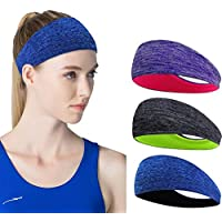 Linlook Sports Headbands for Men/Women - 3 Pack Wide Hair Sweat Band for Running Yoga Gym Walking Cycling Workout…