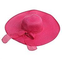 Tinksky Amplia del Larege borde gorras verano Floppy Beach paja Bowknot casquillos de los sombreros, regalos para las madres o regalo para las mujeres girls(Rosy)