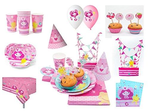 XXL Party Deko Set Prinzessin Kindergeburtstag Mädchen (98teilig) Partygeschirr Komplettset Kindergeburtstag Prinzessin Tortendeko Muffin Set Prinzessin