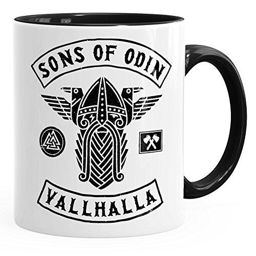 MoonWorks Kaffee-Tasse Sons of Odin Valhalla Vikings Wikinger Fan Geschenk Schwarz Unisize
