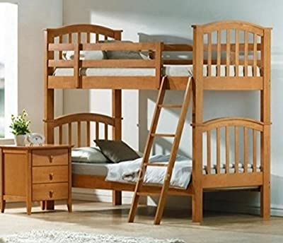 Barbican Oak Hardwood Bunk Bed and 2 x Memory Foam Mattresses