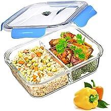 Vidrio Contenedor Alimentos Hermetico - Recipientes Comida Cristal Microondas - Fiambreras Bento con 2-compartimentos