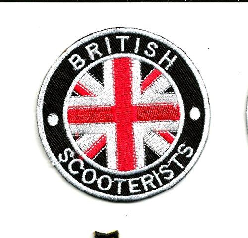 British Scooterist toppa con bandiera Union Jack   ricamo alta qualità Iron On Sew on patch ricamato distintivi per abiti giacche, cappotti cappelli borse bors