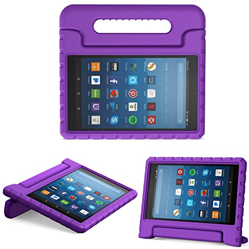 MoKo Hülle für All-New Amazon Fire HD 8 Tablet (7th & 8th Generation – 2017 & 2018 Modell) - Superleicht Eva Kids Shock Proof Cover Stoßfest Kindgerechte Schutzhülle, Violett