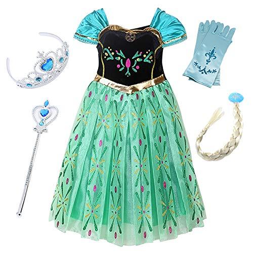 Kostüm Eiskönigin Anna Kleid Karneval Party Verkleidung Mädchen Prinzessin Kleid Glanz Grün Chiffon Cosplay Blumen Kleid Weihnachten Kostüm Halloween Fest ()