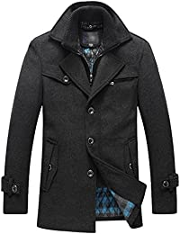 Men's Slim Fitted Stand Collar Silk Padded Wind Coat Wool Jacket Overcoat Peacoat Outerwear