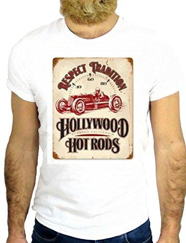 T SHIRT JODE Z2161 HOT ROAD GARAGE COOL LOGO GASOLINE USA AMERICA GGG24 BIANCA - WHITE