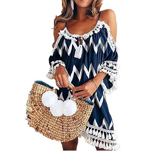 Kleid Kolylong® Damen Elegant Trägerloses Quaste Kurzarm Kleid Retro Schulterfrei Rückenfrei Kleider Kurz Boho Kleid T- Shirt Kleid Mini Sommerkleid Strandkleid Party Abendkleid (XL, Navy Print) -