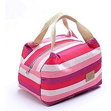 Ularma Portable aislados Picnic almuerzo bolsa Tote cremallera organizador Snack envase lonchera (Color de rosa)