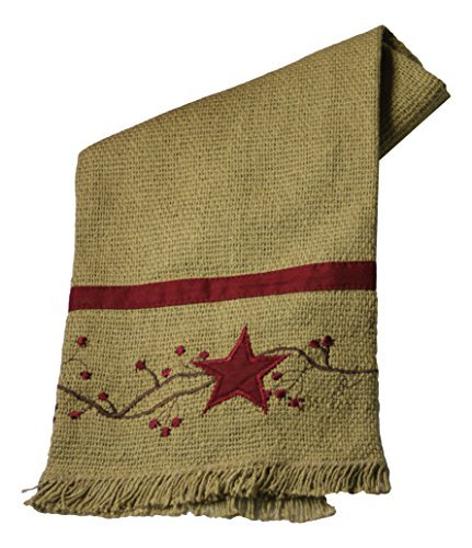 Primitive Star 'N' Berries Vine Cotton Burlap Towel 20 X 28, Burgundy, Tan by The Country House Collection - Star Berry Vine