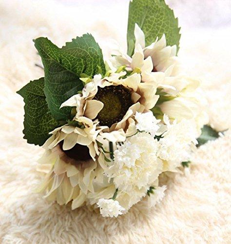 en Künstliche Seide Kunstblumen Blatt Hochzeit Blumen Dekor Bouquet Rose Milchweiß für Zuhause Balkon Tisch Hochzeits Bouquet Dekoration (Weiß, 33cm height) (Weiße Seide Blumen Bulk)