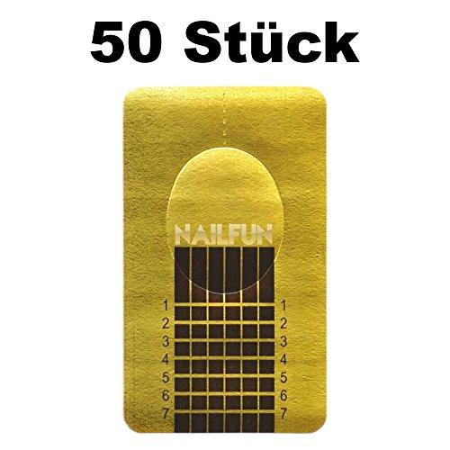 1 Packung (50 Stück) selbstklebende Square Goldschablonen Modellier Schablonen für die künstliche Fingernagel-Modellage -