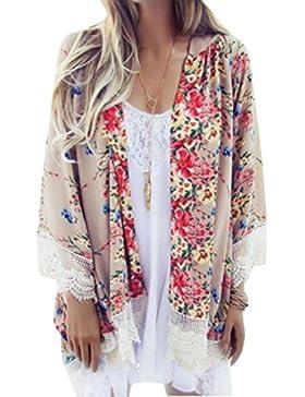 DEELIN Estampado De Mujer Chal De Gasa Kimono Cardigan Tops Blusa Verano