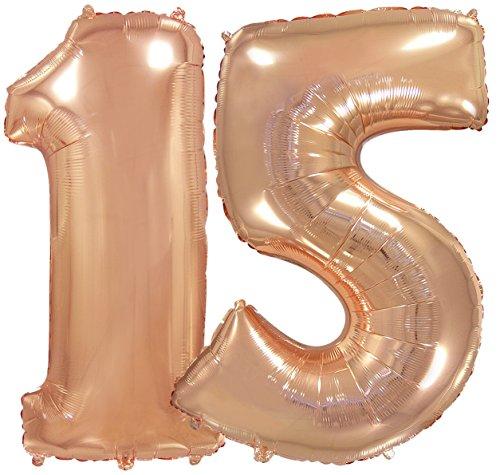 FIESTADEKOR (Rose Gold) Globo número Gigante para Fiestas de cumpleaños, XXL Medida 100 cm, inflándolo con Helio flotará Durante 5/6 días. (NÚMERO 15)