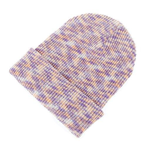 Frauen Baggy Warm Crochet Winter Wolle stricken Ski Beanie Skull Slouchy Caps Rainbow Hut (Lila) (Hut Stricken Beanie Cuff)