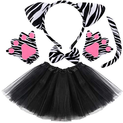 VAMEI Kinder Kostüm Set Haarreif Tier Tutu Rock Bowtie Schwanz Stirnband mit Ohren Karneval Kostüm Halloween Party Verkleidung Tier Cosplay Outfits Tüllrock Kinder (Zebra) (Zebra Tutu Kostüm Kind)