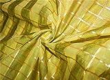 Puresilks Chanderi Stoffplaids aus Baumwolle, Zitronengelb