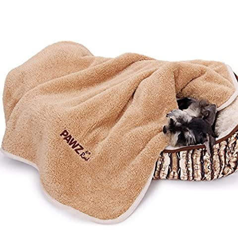 PAWZ Road Dog Blanket Halloween Solid Soft Breathable Warm Fleece Extra Large Sided Velvet Dog Blanket Washable Luxury Wraps High Quality Fabric Suitable For Puppy medium and Large Dog Cat Light Brown L 150x100cm