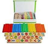 BBLIKE 26 Wooden Tiles Letters Number and 100 Wood Sticks Math Numbers Game, Math Teach Aid Learning Tool for Kids Preschool Education (Box with Lid) - BBLIKE - amazon.co.uk