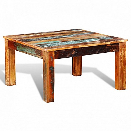 Reclaimed Wooden Coffee Table Antique Style Square Solid Wood Exotic Furniture Indoor Living Room Multi Colour NEW On Sale Quality Guaranteed